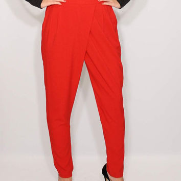 Women Harem Pants Wrap Pants Red Pants Office Fashion