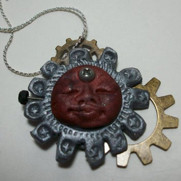 Polymer Clay Steampunk Man Hand Made By by moonknightjewels