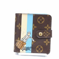 Authentic Louis Vuitton Wallet Compact Zip Groom M60036 Browns Monogram 153041
