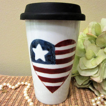 Independence Day Mug Travel  Coffee Tea Heart Flag insulation Red White Blue Porcelain Ceramic Pottery Hand Painted blm