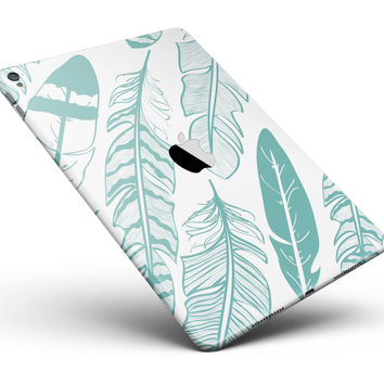 """Teal Feather Pattern Full Body Skin for the iPad Pro (12.9"""" or 9.7"""" available)"""