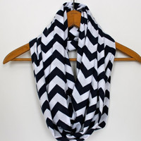 SOFT Chevron Infinity Scarf - Navy Blue & White Zig Zag - Loop Jersey Knit Scarf - Circle Scarf