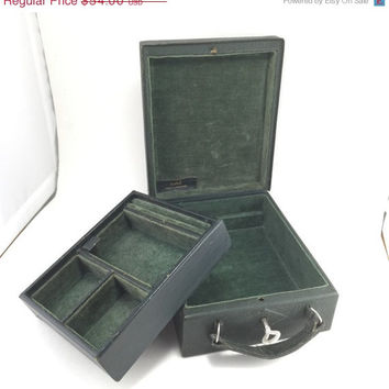ON SALE Gentlemans Travel Case Jewelry Box Lock Key Dunhill Green Vintage