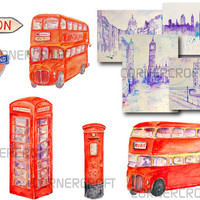 Digital watercolor London landmarks - big Ben, Westminster abbey, tower bridge, red bus, red telephone box, red post box instant download