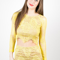 Yellow Sunny Style Lace Crop Top