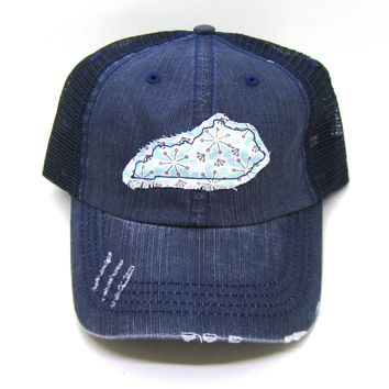 Kentucky Hat - Navy Blue Distressed Trucker Hat - Retro Daisy Applique - All States Available