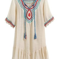 Cream Crochet Panel Tassel Tie Fill Hem Dress