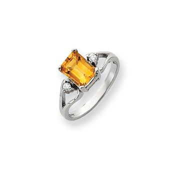 0.05 Ct  14k White Gold 8x6mm Emerald Cut Citrine Diamond Ring I2 Clarity and I/J Color