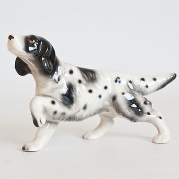 English Springer Spaniel Ceramic Figurine, Hound Dog, Spotted Black and White Figure, Made in Japan