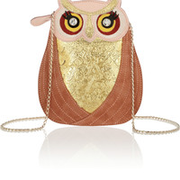 Charlotte Olympia | Owl leather and suede bag | NET-A-PORTER.COM