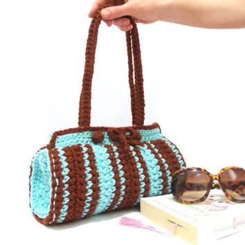 Crochet Bag, Cylinder bag, ON SALE, Brown, Blue crochet tote bag, Handmade crochet handbag, Unique bag, Useful handbag, Pouch, Blue Brown