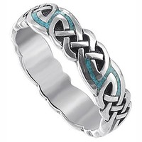 Gem Avenue 925 Sterling Silver Turqouise Celtic Southwestern Style 6mm Band