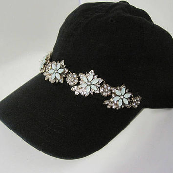 Black Garment Washed Light Weight Trucker Baseball Cap with Gorgeous Aqua Stone and Rhinestone Trim Trucker Caps Accessories Baseball Caps