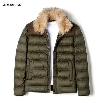 Aolamegs Winter Down Jacket Men 90 White Duck Down Coat Fashion Fur Collar Short Type Down Jackets Male Windproof Warm Parkas