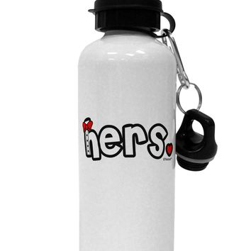 Matching His and Hers Design - Hers - Red Bow Tie Aluminum 600ml Water Bottle by TooLoud