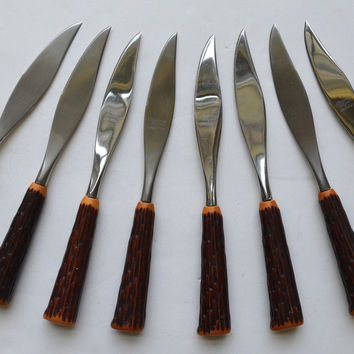 Set of 8 Vintage Faux Antler / Stag Adirondack Handle Stainless Steak Knives