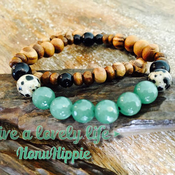 Energizing Adventurine Bracelet, boho hippie jewelry
