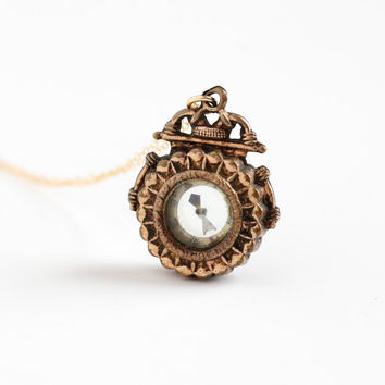 Antique Victorian Compass Necklace - Vintage Gold Filled Late 1800s Unique Rare Charm Watch Fob Pendant Jewelry