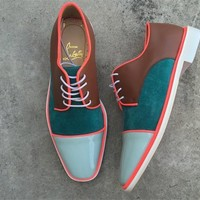 KUYOU Christian Louboutin Oxford CL fashion casual shoes red sole for men and women jeans 90524