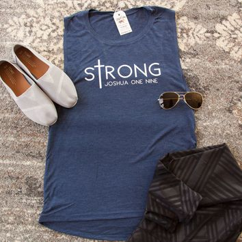 sTrong Joshua 1:9 Ladies Muscle Tank