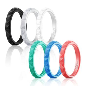 Silicone Wedding Ring Women Stackable Thin Comfort Protect Finger Sport