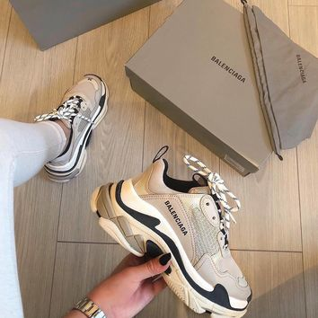 BALENCIAGA Triple S suede, leather and mesh sneakers
