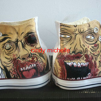 Custom Converse The Walking Dead  Hand-Painted On Converse Shoes Great Gift