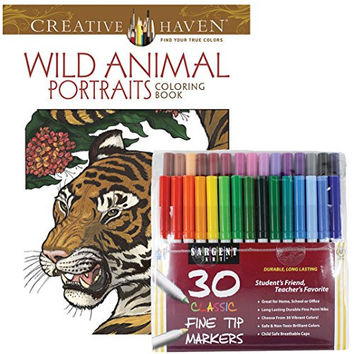 Sargent Art Classic Fine Tip Markers in a Case, Set of 30 and Dover Creative Haven Wild Animal Portraits Coloring Book (Bundle of 2)