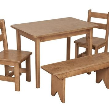SET - Wooden Dining Activity Table (20x30) + 2 Wooden Chairs + 1 Bench Furniture for Kids