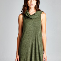 Sleeveless Turtleneck Tunic - Olive