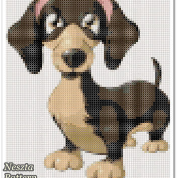 Dachshund Cross Stitch Pattern, Dachshund x stitch pattern, colorfull Cross stitch Embroidery, Embroidery pattern