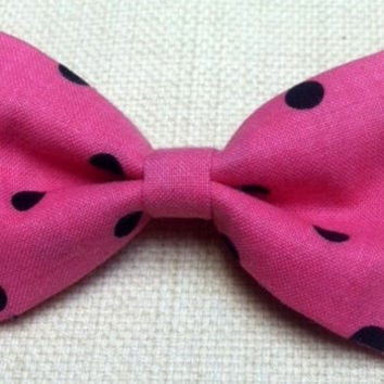Pink Black Polka Dot Hair Bow Kawaii Bow by TiedInaKnotBowtique