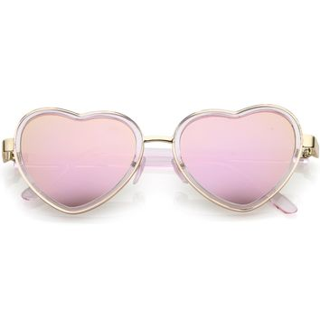 Women's Fashion Heart Sunglasses With Color Mirrored Flat Lens 54mm