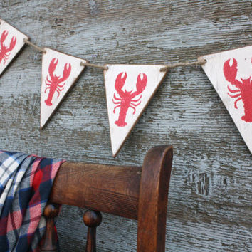 FREE SHIP Wood Lobster Banner Pennant Bunting Tags Signs Maine Cape Cod Beach