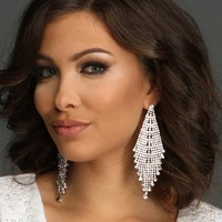 Sale- Silver Kite Rhinestone Earrings