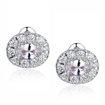 Oval and Round Cubic Zirconia Stud Earrings