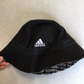 ESBONC. BRAND NEW ADIDAS BLACK WITH LOGOS UNDER BRIM BUCKET HAT YOUTH FIT SHIPPING