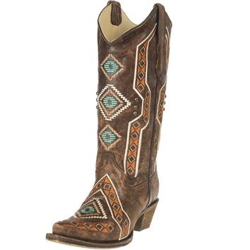 CORRAL Women's Aztec Embroidered Cowgirl Boot Snip Toe - E1178