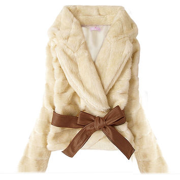 Korea Fashion Faux Fur Rabbit Hair Fluffy Short Coat