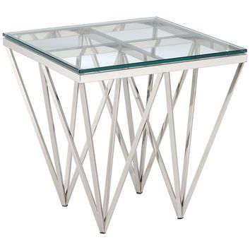 """Luxor 19 3/4"""" Wide Chrome and Glass Modern End Table - #31C75 