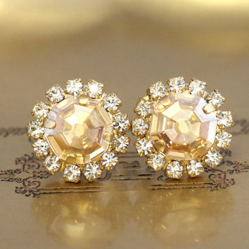 Champagne Earrings,Champagne Studs Earrings,Bridal Champagne Earrings,Champagne Bridesmaids Earrings,Topaz Swarovski Earrings,Crystal Studs