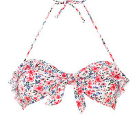 Pink Ditsy Floral Frill Bandeau Bikini Top