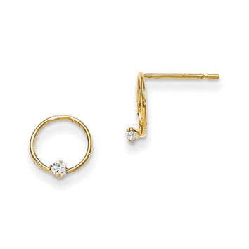 14kt Yellow Gold 9mm Circlet with Single CZ Stone Girls Earrings