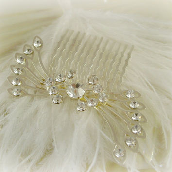 Bridal Hair Comb, Rhinestone Crystal Flower Spray, Art Deco 1920s,Rhinestone Crystal Headpiece