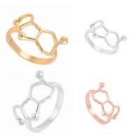 Size 6.5 1pc New Popular Rings Serotonin Molecule Ring Chemistry Jewelry Neurotransmitter Science Jewelry R158