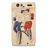 Vintage Tandem Bicycle Couple Reading Kissing Droid RAZR Covers
