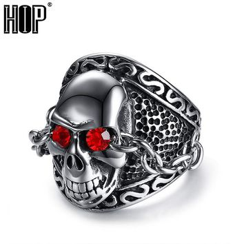 HIP Punk Gothic Red Natural Stone Eyes Skeleton Skull Male Ring With Link Chain 316L Stainless Steel Biker Rings for Men Jewelry