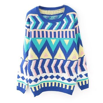 ZLYC Women's Vintage Style Tribal Geometric Jumper