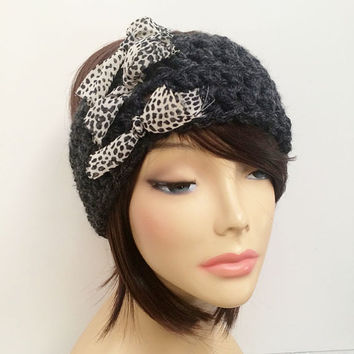 FREE SHIPPING - Crochet Ear Warmer Headband with Threads - Charcoal gray with animal print thread ties