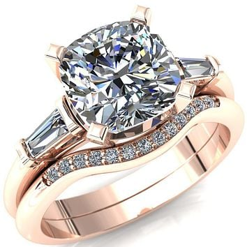 Quinn Cushion Moissanite 4 Prong Single Baguette Diamond Side Ring